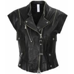 Rowdy Black Leather Biker Gilet ($1,055) ❤ liked on Polyvore featuring outerwear, vests, leather vests, leather gilet, leather biker vest, asymmetrical vest and biker vests