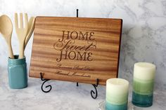 Our personalized Home Sweet Home cutting board! Perfect for welcoming any one into a new home, or adding a conversational piece to any kitchen!