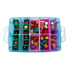 Amazon.com: Stackable Storage Container by Bins & Things, Perfect for Shopkins, Littlest Pet Shop, Rainbow Loom, Palace Pets and Small Toys - With 30 Adjustable Compartments to Fit Most Small-Sized Toys. (Blue): Arts, Crafts & Sewing
