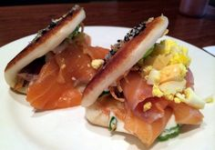 Smoked salmon buns with horseradish, egg, sesame seeds and hard-boiled egg at Momofuku Ssam Bar. (Photo by: The Food Doc)