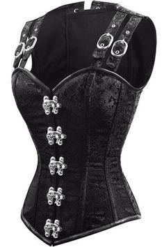 4cef4c9ee4 12 Steel Bone Double Buckle Straps Lace Up Steampunk Waist Training Corset  Vest