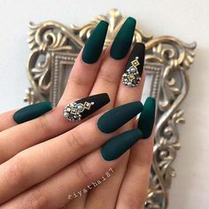 Sexy Dark Nails Art ✿ Include Acrylic Nails, Matte Nails, Stiletto Nails - Page 6 Coffin Nails Matte, Dark Nails, 3d Nails, Long Nails, Dark Green Nails, Dark Color Nails, Dark Nail Art, Short Nails, Mat Black Nails