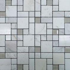 Random Gl And Marble Mosaic Tile Carrara White Contemporary