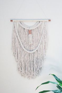 Macrame Wall Hanging / Natural White Cotton Rope / Multi-Layered / Copper Accent…