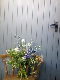 delphinium and cow parsley bouquet