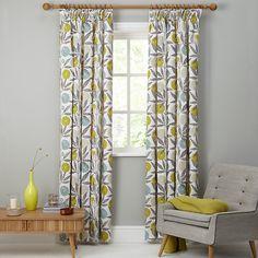 Buy Scion Blomma Lined Pencil Pleat Curtains, Blueprint, W167 x Drop 137cm Online at johnlewis.com Lounge Curtains, Pleated Curtains, Pencil Pleat, Mid-century Modern, Scion, Mid Century, Living Room, Inspiration, Bathrooms