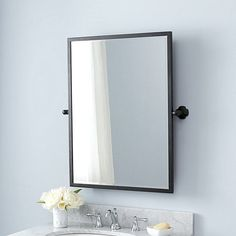 Bathroom Mirror Pivot amelie rectangular pivot mirror - statin nickel finish 22x30