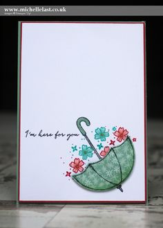 Pretty card made using the Umbrella from Weather Together from Stampin' Up! by Top UK demo Michelle Last. Order online to receive a free thank you gift.
