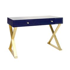 "This lovely desk features a gold leafed base with an ""X"" design. The top is done in navy lacquer and has two drawers. The drawers are on glides. The desk measures 48""W X 24""D X 32""H. Click on image fo"
