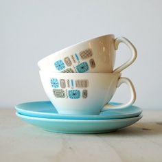 Vintage Temporama Teacup and Saucer Set Mid Century Modern Kitchen Aqua Blue Atomic Eames Era