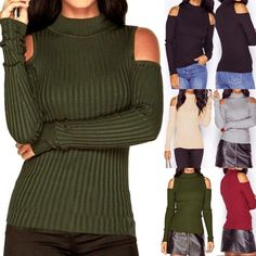 Women Long Sleeve High Neck Rib Knitted Cut Out Cold Shoulder