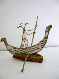 Voyage à Venise, un Gondolier - figurine en ficelle et papier : Accessoires de maison par ficelleetpapier