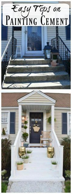 Favorite Painted Cement Ideas- And DIY cementing painting tips Painted Cement Steps are one of the easiest ways to add curb appeal to your front porch. Come see the easy DIY details and other favorite painted cement. Painted Concrete Steps, Painted Cement Patio, Cement Steps, Concrete Stairs, Concrete Patio, Painted Steps, Paint Concrete, Concrete Front Steps, Flagstone Patio