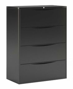 CSII 42 in. Lateral File Cabinet in Black by Mayline. $920.49. Four Drawers. Stylish and recessed drawer pull. Heavy duty. Full drawer extension on steel ball bearing telescoping slides. Anti-tipping drawer interlock system that allows only one drawer open at a time. Side to side rails support Legal and letter or A4 filing. 42 in. W x 18.38 in. D x 52 in. H (206 lbs.). Save 30% Off!