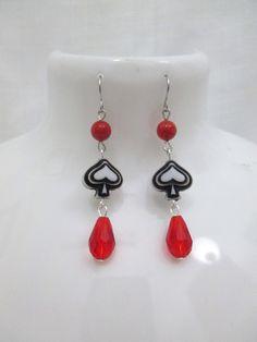 Spade Beaded Dangle Earrings with Red Beads Spades Drop Earrings by DeadPoetAccessories on Etsy