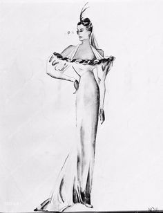 photo Edith Head sketch for Dorothy Lamour Big Broadcast of 1938 film 1980-16