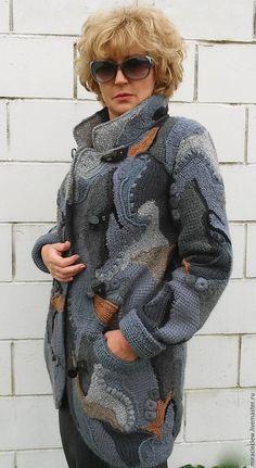 Купить Вязаное крючком пальто/кардиган в стиле фриформ, пэчворк, бохо - комбинированный, абстрактный, фриформ