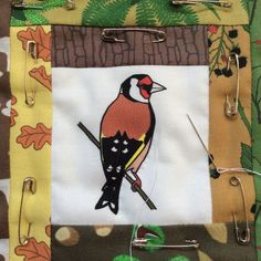 Hand-quilting a block of my goldfinch patchwork wall hanging. All fabrics are original designs by Sea Parrot. www.seaparrot.co.uk Bird Quilt, Patchwork Fabric, Goldfinch, Hand Quilting, Textile Art, Parrot, Fabric Design, Applique, Fabrics