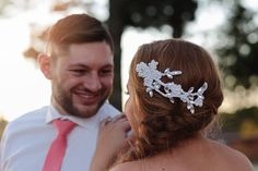 Kary M Designs Lace Bridal Clip // Heidi Knowles Photography