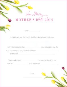 Mother's Day Printable: This flower-filled fill-in-the blank is a great way to express your gratitude to the special women in your life. | Vera Bradley