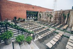 unconventional spots like this outdoor warehouse space give a party, event or celebration something different. The venue speaks for itself so the decor can be kept simple.