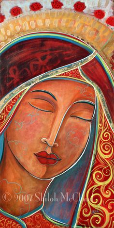by Shilo Sofia Blessed Mother Mary, Divine Mother, Religious Icons, Religious Art, Sacred Feminine, Holy Mary, Catholic Art, Arte Popular, Art Abstrait