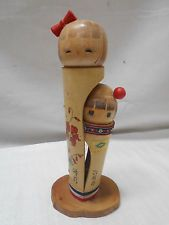 Kokeshi Creative Style Wooden Japanese Doll Vintage Bamboo Sisters  #406