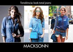 Bom dia!!! Nas manhãs mais fresquinhas invista na combinação queridinha das fashionistas, denim + denim. Além de ser super fácil de combinar, o jeans é um tecido democrático e atemporal.