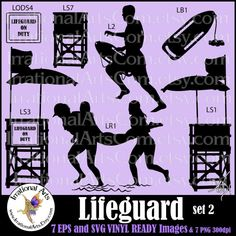 Lifeguard Silhouettes  Vinyl Ready Images: 7 EPS by IrrationalArts