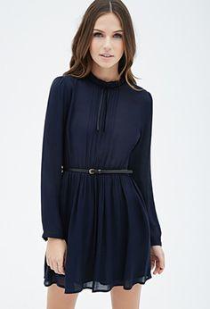 High-Neck Pintucked Dress   Forever 21 - 2000135581