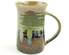 Green Ceramic Mug with Amber Brown. via Etsy.