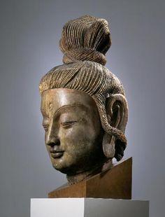 CREATOR(S)Chinese, Henan, Luoyang  TITLEHead of Guanyin  DATEYuan Dynasty, 1279 - 1368  MEDIUMwood and paint