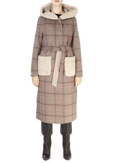 This is the 'Newport' Reversible Check Beige Coat With Sheepskin by our friends at Suprema! Distinguished by its refined and worked...