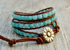 Turquoise blue wrap Chan Luu style bracelet Beaded by SinonaDesign, $44.00