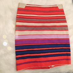 The Limited Brightly Colored Stripe Pencil Skirt Gorgeous and BNWOT! The first photo is of the actual item. First and last photos accurately depicts colors and the center photo is to show for! Super bright and can be dressed up for down for any season. Zips in the back! The Limited Skirts Pencil