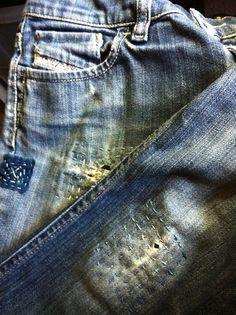 mended jeans, shibori girl