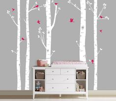 Birch Tree Decal with Flying Birds, ordered in lighter pink.