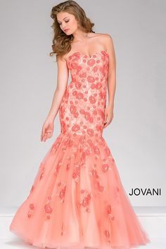 feef5db2727 Strapless coral mermaid dress with floral embroidery features sweetheart  neckline. Prom Dresses Jovani