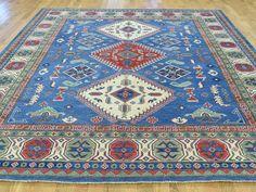 Hand-Knotted Pure Wool Kazak Geometric Design Oriental Rug- Product:8-5-x10-Hand-Knotted-Pure-Wool-Kazak-Geometric-Design-Oriental-Rug-Sh31419