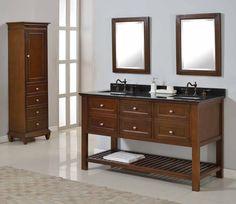 Direct Vanity Mission Spa Dark Brown Double Vanity Sink Cabinet (black Granite  Top Without Mirror), Size Double Vanities