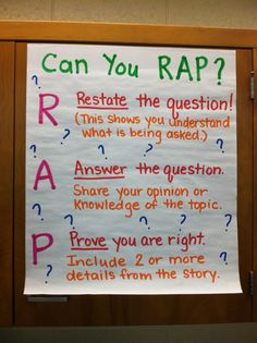Great anchor chart for reading response.