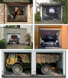Garage door decal sticker prints - illusions
