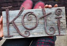 Letters made with brushwood: Koti - Home Twig Crafts, Nature Crafts, Wood Crafts, Diy And Crafts, Crafts For Kids, Arts And Crafts, Twig Art, Driftwood Projects