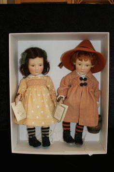 R. John Wright Jack & Jill doll set, MIB, handtags signed by artist, complete
