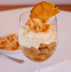Caramelized Pinã Colada Parfaits Here's a simple parfait that combines the flavors of one of my favorite drinks, the Pinã Colada. On the bottom is a layer caramelized fresh pineapple, topped with a rich coconut cream, with a layer of crumbled ginger biscuits in between, adding some texture. Recipe courtesy of Tish Boyle, editor Dessert Professional Magazine & Author -Visit Her Website!