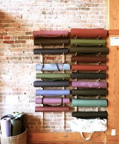 Yoga Mat - How cool is this yoga mat storage? very neat… - Yoga Mat by DynActive- inch Thick Premium Non Slip Eco-Friendly with Carry Strap- TPE Material The Latest Technology in Yoga- High Density Memory Foam- Non Toxic, Latex Free, PVC Free Yoga Room Design, Yoga Studio Design, Yoga Studio Decor, Yoga Studio Interior, Gym Interior, Workout Room Decor, Family Room Walls, Yoga Pilates, Building A Container Home