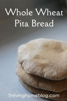 Whole Wheat Pita Bread – Thriving Home Whole Wheat Pita Bread made with a bread machine. So simple and so yummy. They also freeze well for future use! Bread Bun, Bread Rolls, Whole Wheat Pita Bread, Bread Maker Machine, Bread Maker Recipes, Bakery Recipes, Bread And Pastries, How To Make Bread, Real Food Recipes