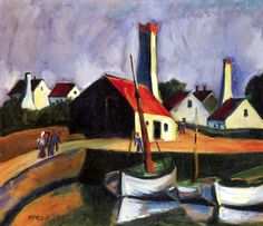 Fishing Port in Bornholm  Hermann Max Pechstein - 1924. Hermann Max Pechstein was a German expressionist painter and printmaker, and a member of the Die Brücke group