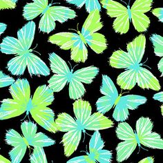 "Creative Cuts Cotton 44"" wide, 2 yard cut fabric - Modern Butterfly, Black/Green"