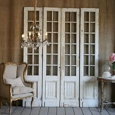 old wooden doors.we saved the original french doors from the first house we ever owned.what a cool way to use them in our new house! Old Wooden Doors, Old Doors, Front Doors, Reclaimed Doors, Entry Doors, Screen Doors, Divider Screen, Rustic Doors, Entry Hall